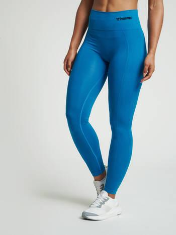 hmlTIF SEAMLESS HIGH WAIST TIGHTS, MYKONOS BLUE, model