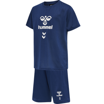 hmlMEGA FOOTBALL SHORTS SET, ESTATE BLUE, packshot