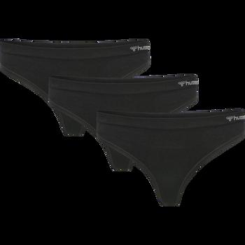 hmlJUNO 3 PACK SEAMLESS THONG, BLACK, packshot