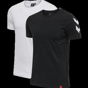hmlLEGACY 2-PACK CHEVRON T-SHIRT, BLACK/WHITE, packshot