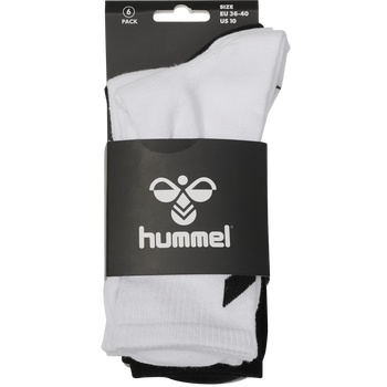 hmlCHEVRON 6-PACK SOCKS, WHITE/BLACK/GREY, packshot