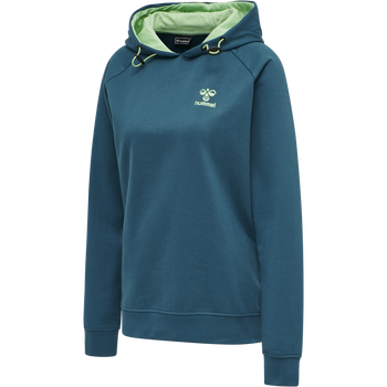 hmlACTION COTTON HOODIE WOMAN, BLUE CORAL/GREEN ASH, packshot