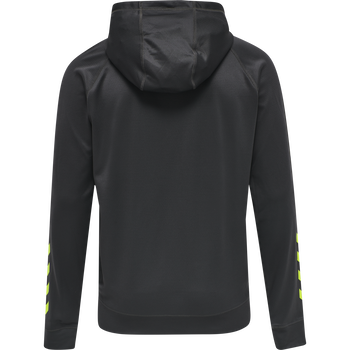 hmlACTION ZIP HOODIE SWEAT, APSHALT/SAFETY YELLOW, packshot