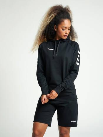 HUMMEL GO COTTON HOODIE WOMAN, BLACK, model