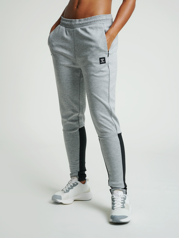 hmlESSI TAPERED PANTS, GREY MELANGE, model