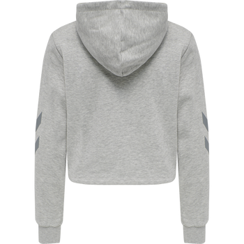 hmlLEGACY WOMAN CROPPED HOODIE, GREY MELANGE, packshot