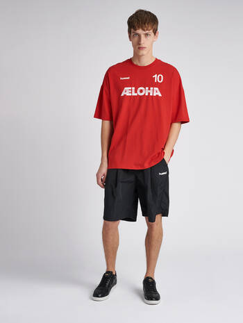 hmlINSIDE REEF LOOSE T-SHIRT S/S, TRUE RED, model