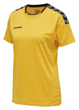 hmlAUTHENTIC POLY JERSEY WOMAN S/S, SPORTS YELLOW/BLACK, packshot