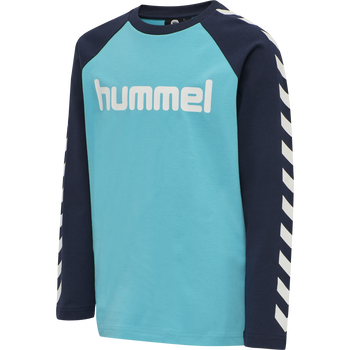hmlBOYS T-SHIRT LS, SCUBA BLUE, packshot