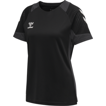 hmlLEAD S/S POLY JERSEY WOMEN, BLACK, packshot